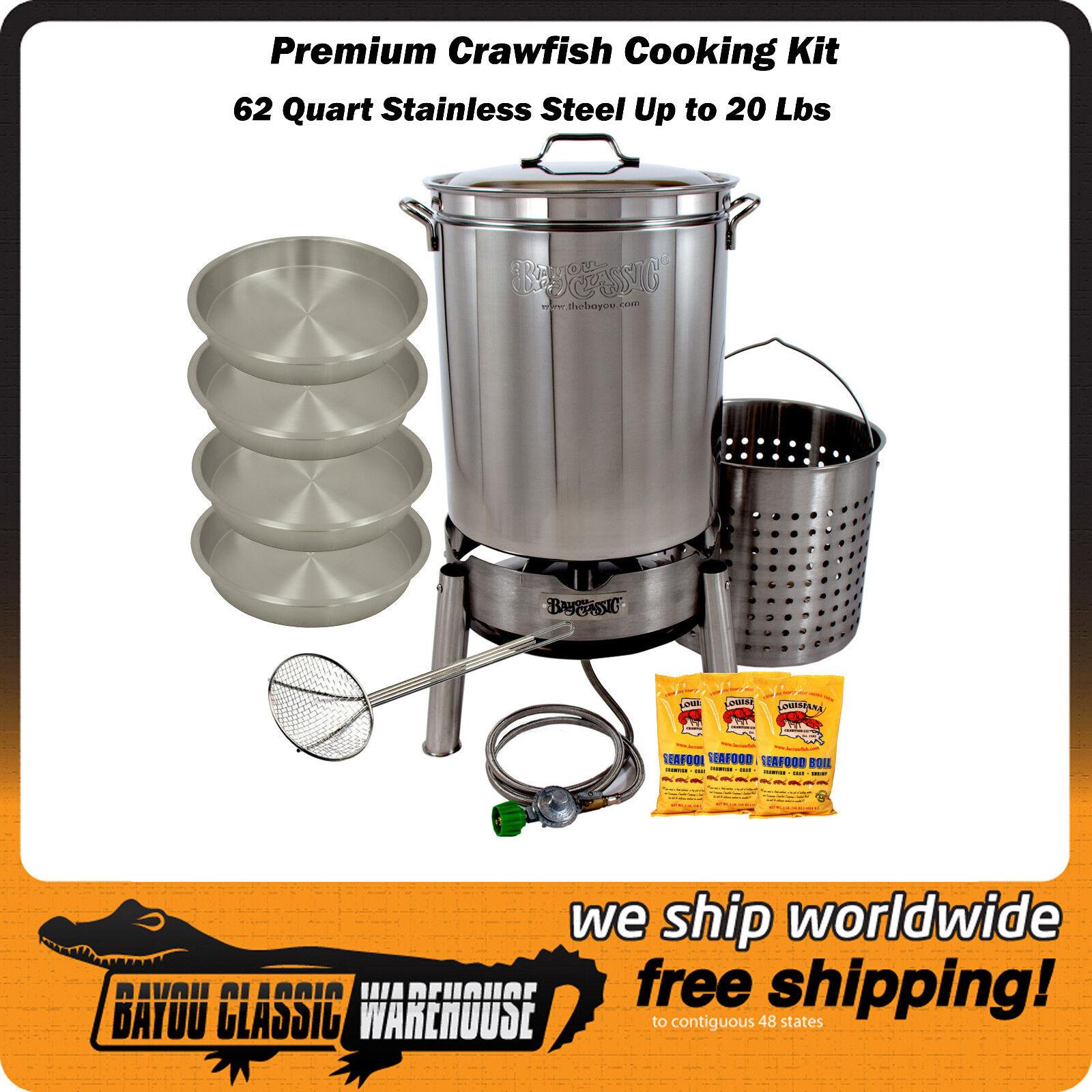 Crawfish Cooking Kit 62 Quart Premium Stainless Steel Hold up to 20 Lbs