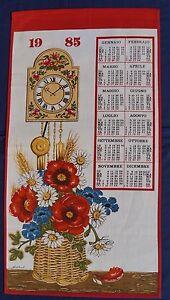 1985-Calendar-Retro-Souvenir-Unused-COTTON-Tea-Towel-FLOWERS-CLOCK-Poppy-Daisy