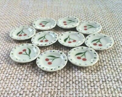 10 Red Flower Hand Paint Rectangle Plates Dollhouse Miniatures Ceramic Supply