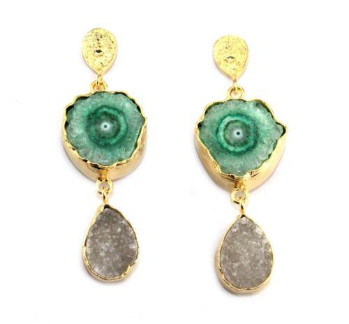 Coloré Naturel solaire quartz et agate druzy 24k plaqué or boucle d/'oreille Bijoux