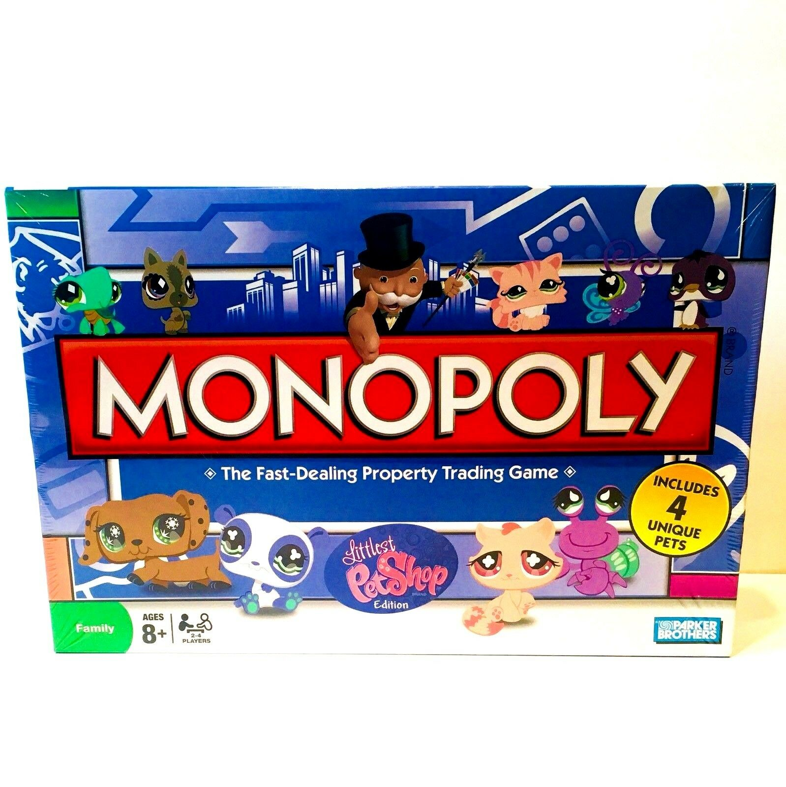 Monopoly Littlest Pet Shop Board Game With 4 Unique Pets Parker Bredhers  NEW
