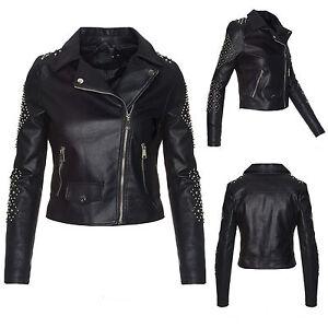 anerkannte Marken suchen tolle Preise Details zu Kunstlederjacke damen biker jacke lederoptik schwarz nieten  jacke S-XL D-251