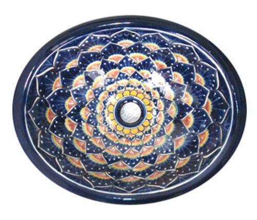 #030 SMALL BATHROOM SINK 16x11.5 MEXICAN CERAMIC HAND PAINT DROP IN UNDERMOUNT