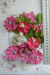 HOT-PINK-amp-IVORY-24-Roses-amp-Flowers-Leaves-10-60mm-5Styles-PAPER-amp-SILK-VE1-MH