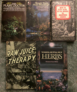 Books on Plants, Herbs, Juicing & Wilderness Survival, lot of 5, Plant Doctor