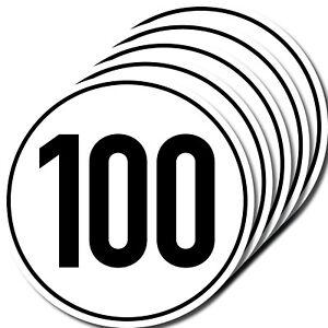 5-Sticker-100-km-H-10cm-Din-1451-Car-Motorcycle-Bus-Scooter-Vespa-Kart-Quad