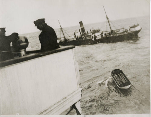1930's PRESS PHOTOGRAPH FIRST PICTURES EXETER CITY FREIGHTER DISASTER