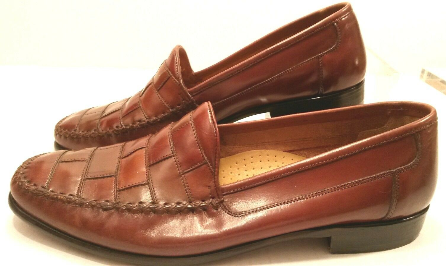 GIORGIO BRUTINI Woven SlipOn Loafer Brown Soft LEATHER Dress shoes MENS 12D MINT