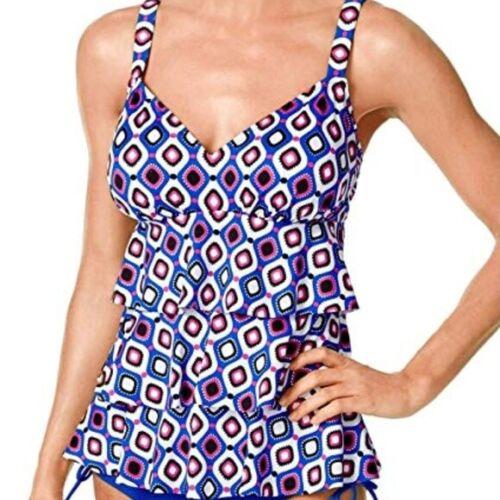 Swim Solutions Jewels Geo-Print Tiered Tankini Top Violet Blue Fuchsia 8 16 NWT