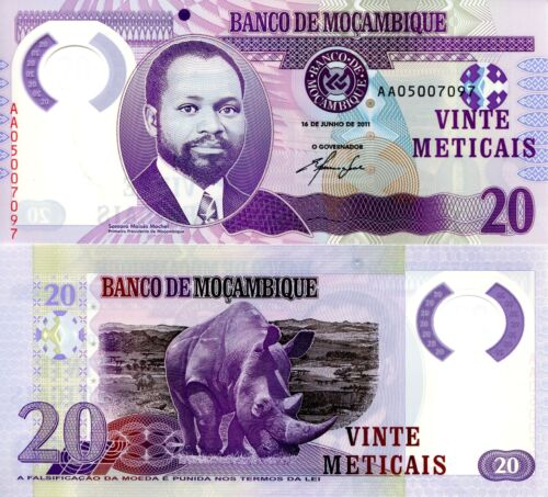 MOZAMBIQUE 20 Meticais Banknote World Paper Money UNC Currency Pick p149-2011