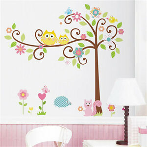 Removable owl tree squirrel wall sticker art mural decal for Diy tree wall mural