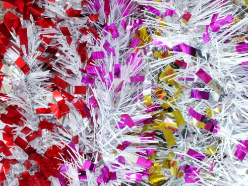 2m Christmas Xmas Tinsel Chunky Decoration Thick Wide Red Pink Purple Green Gold