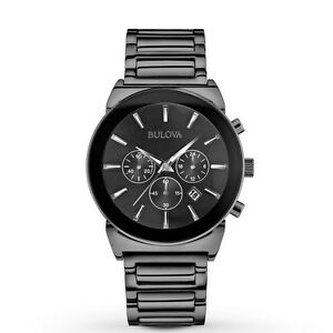 new bulova 98b215 chronograph black stainless steel men 039 s image is loading new bulova 98b215 chronograph black stainless steel men