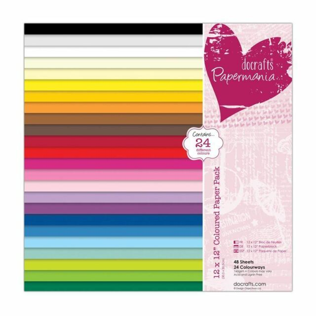 "Papermania 12"" x 12 inch Colored Paper Pack of 48 Multicolour PMA 160503"