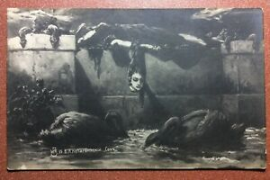 RESERVED-Tsarist-Russia-9-postcards-1907s-KOTARBINSKY-Witch-Mermaid-Magic