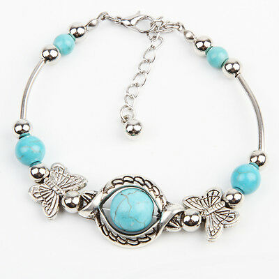 Tibetan Silver Green Turquoise Inlay Butterfly Bead Bangle Bracelet for Women