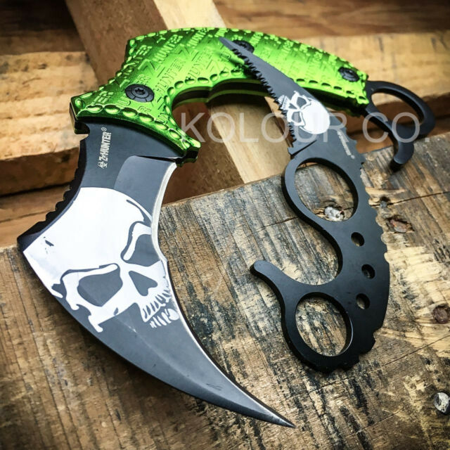 2pc TACTICAL COMBAT KARAMBIT KNIFE SET Survival Hunting BOWIE Fixed Blade ZOMBIE
