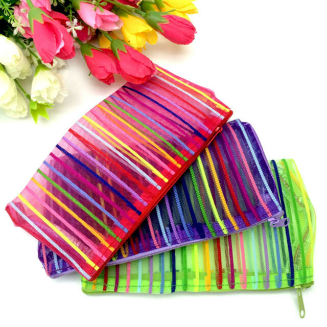 2Pcs Colorful Cosmetic Bag Travel Wash Pocket Dust Proof Makeup Storage Pouch
