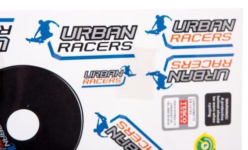 SKATEBOARDING in BLUE new URBAN RACERS Kids BICYCLE Bike STICKER SET Large