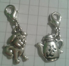 "TIBETAN SILVER 2 CHARMS"" PUPPY , COFFEE POT,FOR CHARM BRACELET OR  TINY PURSES"