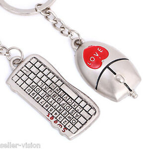Mouse-amp-Keyboard-Couple-Key-Chain-Ring-Keyring-Keyfob-Love-Gifts-Couples-Partner