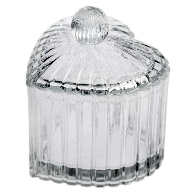 dotcomgiftshop SMALL GLASS HEART TRINKET POT CLEAR GLASS HEART SHAPE WITH LID