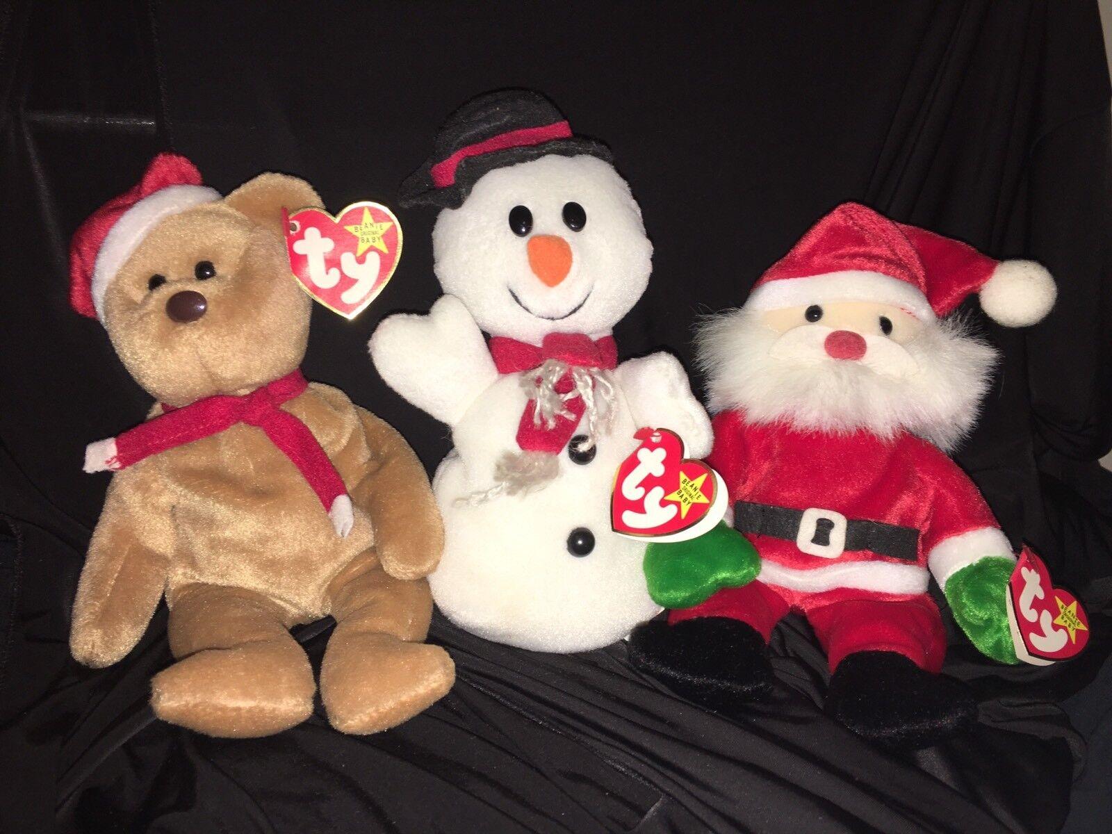 Gruppe 3 selten weihnachten ty beanie babies.selten fehler, teddy snowball & santa