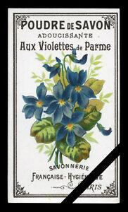 Vintage-Soap-Label-French-Antique-Paris-Perfume-Poudre-De-Savon-Aux-Violettes