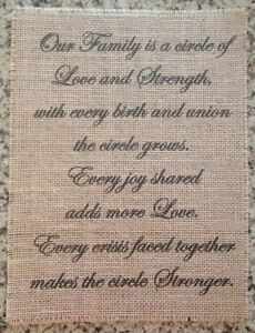 Primitive Burlap Family Circle Love Strength Banner Panel Appliqué