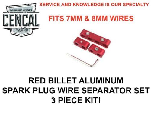 UNIVERSAL RED BILLET ALUMINUM SPARK WIRE SEPARATOR SET 3 PIECE KIT 7MM 8MM