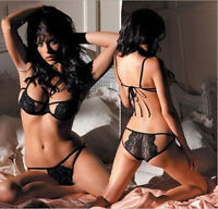Women's Sexy Lingerie Lace Dress Underwear Black Sleepwear G-string Hot New COH