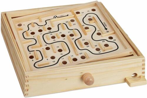 Holz Labyrinth Spiel,mit 2 Kugeln,Geschicklichkeitsspiel,Brettspiel XL
