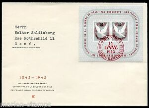 Suisse-Sc-B144-first-day-cover-Bale-4-14-45-a-Geneve-comme-indique