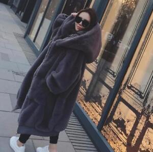 Ladies Coat Winter Warm Fur Lang Vogue Jacket Størrelse Thicken Hooded Luksus 8F4q5x