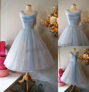 Vintage-1950-039-s-Short-Tea-Length-Blue-Cocktail-Prom-Ball-Bridesmaid-Party-Dress