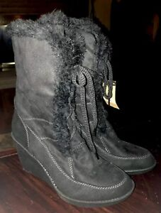 d34dbcd11156 Route 66 Black Suede Look Wedge Heel Ankle Boots Women s Size 8 NWT ...