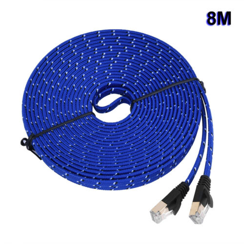 Cat7 RJ45 Ethernet Cable 10 Gigabit Shielded Flat Patch Network LAN Cord For PC