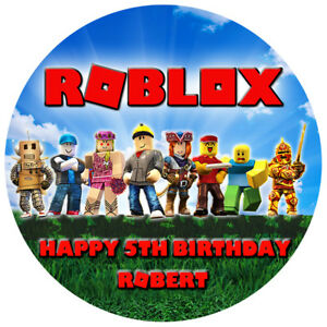 Image Is Loading Roblox Edible Icing Cake Topper Personalised Birthday