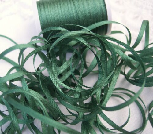 """WIDE 25 YARDS DEEP FOREST//GREEN COLOR 4MM 100/%PURE SILK EMBROIDERY RIBBON 1//8/"""""""