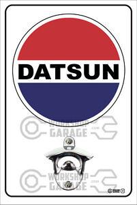 Pop-A-Top-Wall-Mount-Bottle-Opener-Metal-Sign-DATSUN-Logo