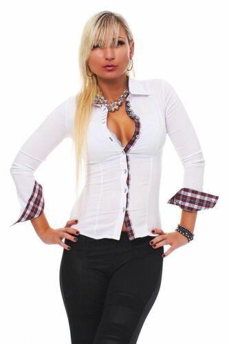 10276 Langarm Businessbluse Bluse Hemd Business Hemdbluse elastischem Stretch .