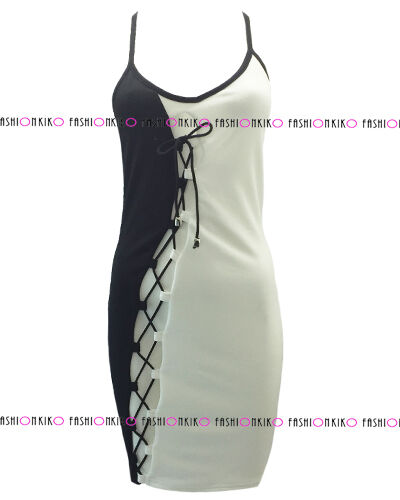 WOMENS DRESS LADIES FRONT LACE TIE UP CROSS BACK EYELET SHORT BODYCON DRESS