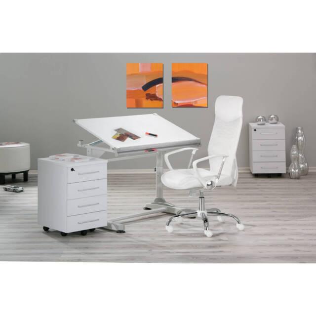 Fauteuil de direction chaise de bureau pivotant ergonomique sur roulette BLANC