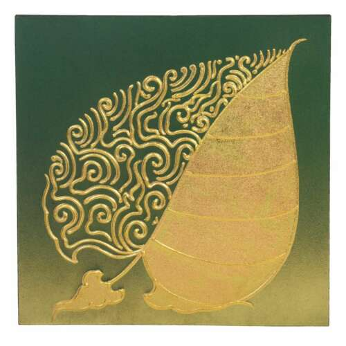 Picture CANVAS WITH GOLD LEAF PAINTING ART Asia Green Gold 50 x 50 cm No 11