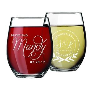 Details About Personalized Etched Bridal Wine Glass Gift For Wedding Party Bridesmaid Bride