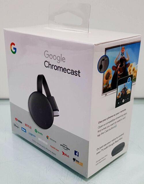 New Google Chromecast ( 3rd Generation ) HD Media Streamer GA00439-AU MFG 2020