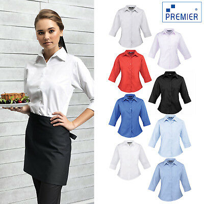 Premier Womens 3//4 Sleeve Poplin Plain Shirt
