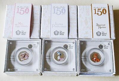 Beatrix Potter 150th Anniversary Three Silver Proof Coloured 50p Coins