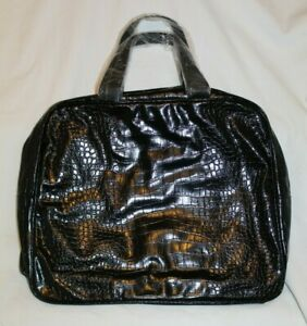 Saks Fifth Avenue Women's Vintage Handbag Black Glossy Crocodile Skin NEW
