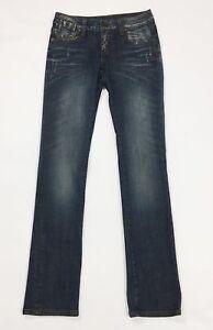 Jeans-donna-usato-slim-S-W28-tg-42-gamba-dritta-denim-stretch-boyfriend-T3705